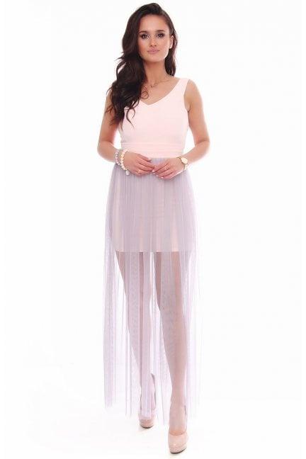 Sukienka maxi z rozporkiem tiulowa różowa