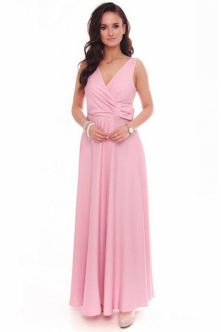 Sukienka wizytowa maxi z kokardą różowa