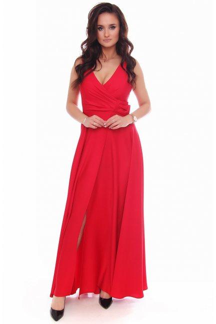 Sukienka wizytowa maxi z kokardą czerwona