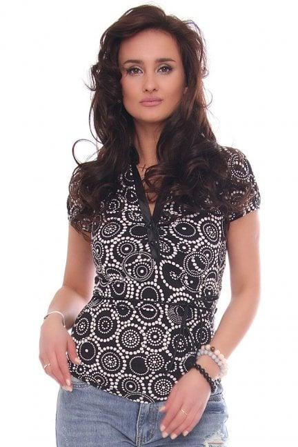 Bluzka modna dekolt ozdobny wzór czarna