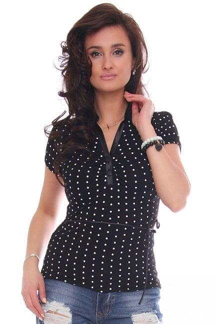 Bluzka modna dekolt wzór groszki czarna