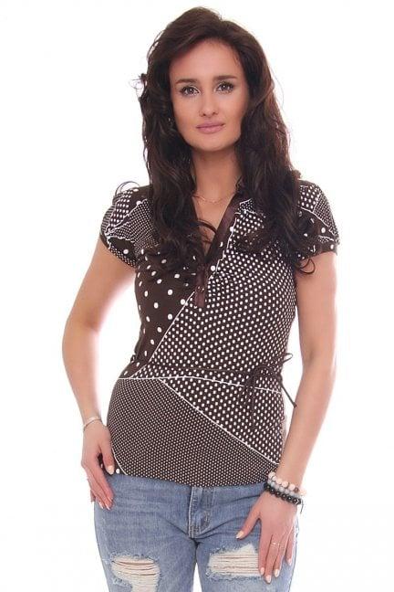 Bluzka modna dekolt wzór kropki brązowa