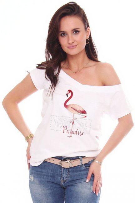 Bluzka damska nadruk Flaming biała