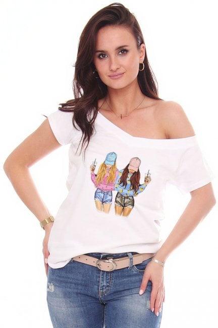 T-shirt sportowy aplikacja Friends biały