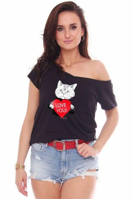 Koszulka modna nadruk Cat czarna
