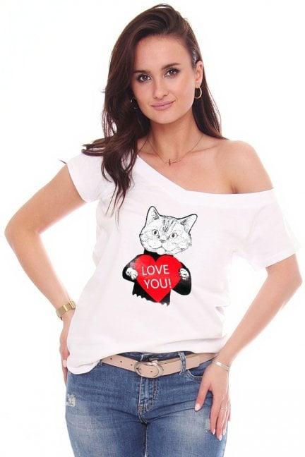 Koszulka modna nadruk Cat biała