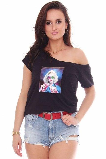 Bluzka bawełniana nadruk Marilyn czarna