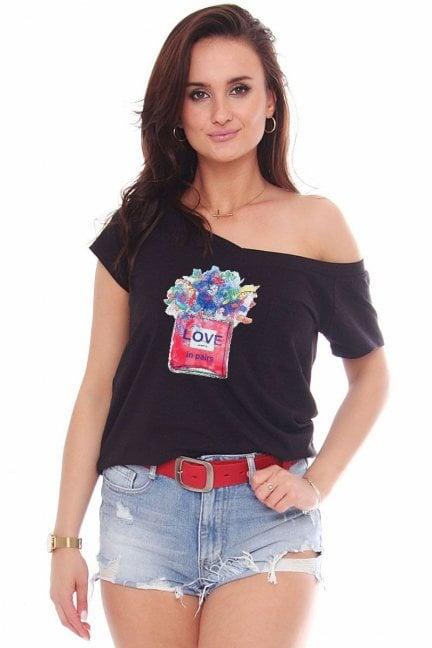 T-shirt z bawełny bluzka nadruk Love czarna