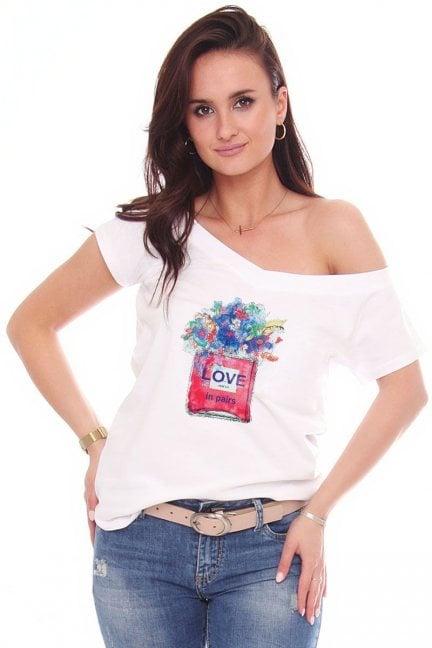 T-shirt z bawełny bluzka nadruk Love biała