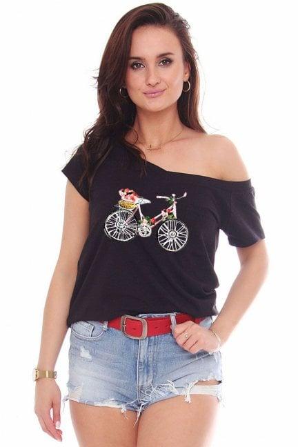 Bluzka sportowa aplikacja Bicycle czarna