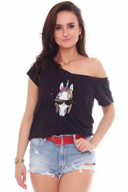 T-shirt bawełniany aplikacja Unicorn czarny