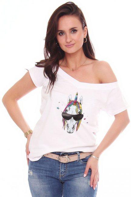 T-shirt bawełniany aplikacja Unicorn biały