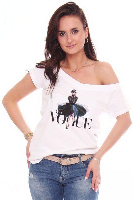 Bluzka damska T-shirt nadruk Vogue biały