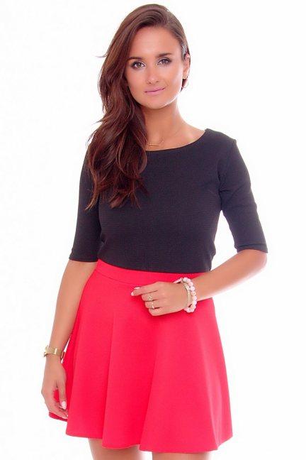 Sukienka modna klosz mini czerwona