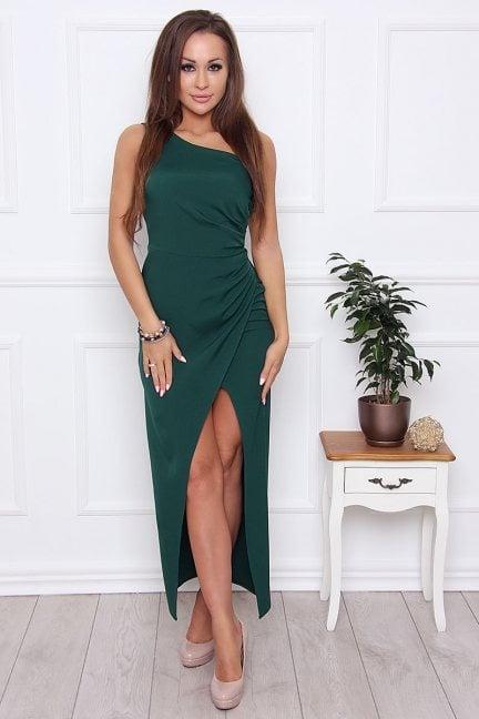 Sukienka elegancka maxi rozporek zielona