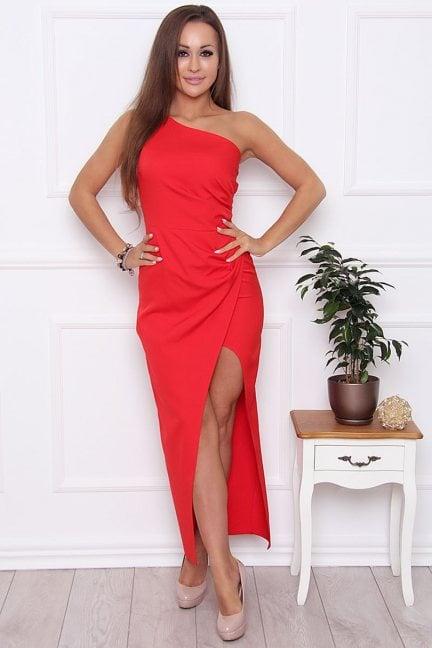 Sukienka dopasowana maxi czerwona