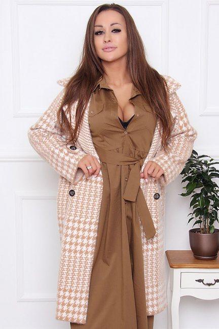 Płaszcz alpaka pepitka z kieszeniami camel