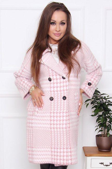 Płaszcz alpaka pepitka z kieszeniami różowy