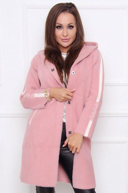 Płaszcz damski z kapturem alpaka różowy