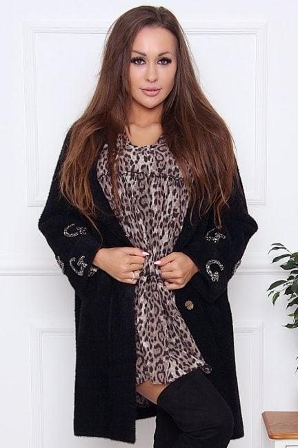 Płaszcz modny alpaka z cekinami czarny
