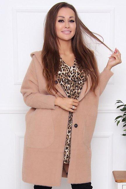 Płaszcz jesienny alpaka z kapturem camel