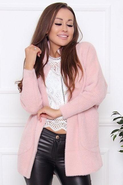 Płaszcz krótki kieszenie alpaka różowy