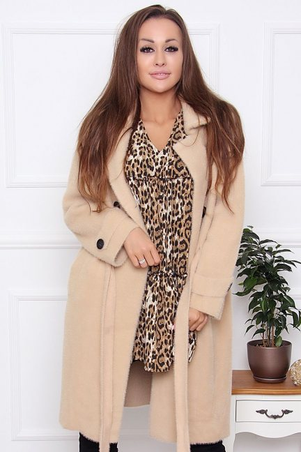 Płaszcz damski wiązany z alpaki beżowy