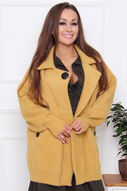 Płaszcz damski krótki z alpaki musztarda