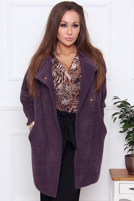 Płaszcz ciepły alpaka zapinany fioletowy
