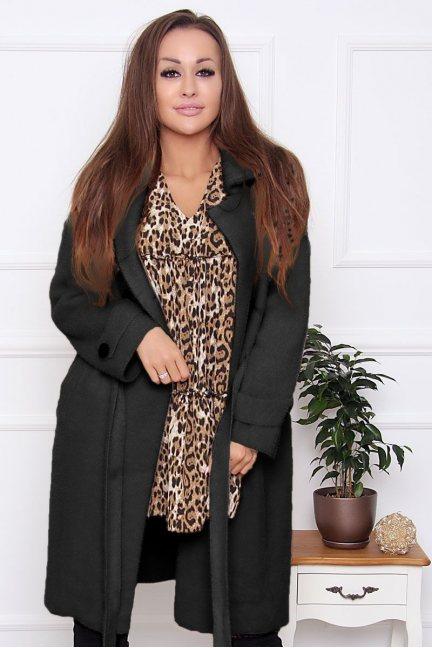 Płaszcz damski wiązany z alpaki czarny