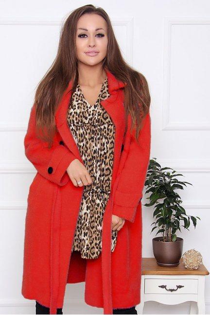 Płaszcz damski wiązany z alpaki czerwony