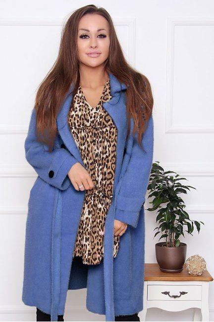 Płaszcz damski wiązany z alpaki niebieski