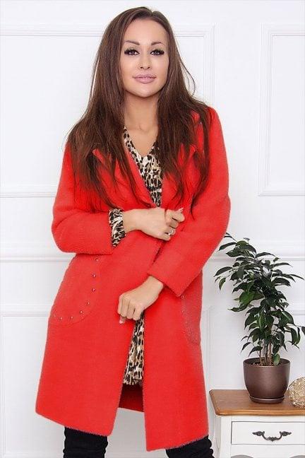 Płaszcz damski z alpaki z ćwiekami czerwony
