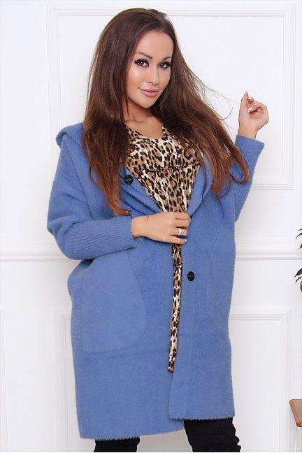 Płaszcz jesienny alpaka z kapturem niebieski