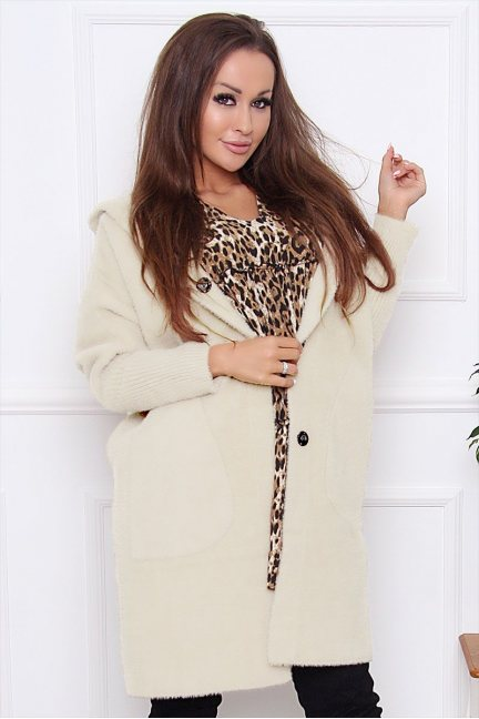 Płaszcz jesienny alpaka z kapturem ecru