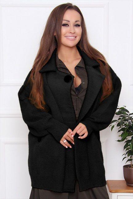 Płaszcz damski krótki z alpaki czarny