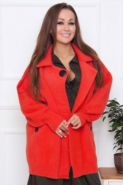 Płaszcz damski krótki z alpaki czerwony