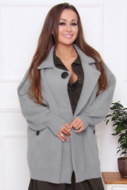 Płaszcz damski krótki z alpaki szary