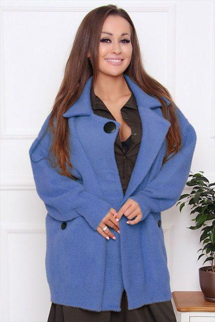 Płaszcz damski krótki z alpaki niebieski