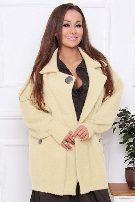 Płaszcz damski krótki z alpaki ecru