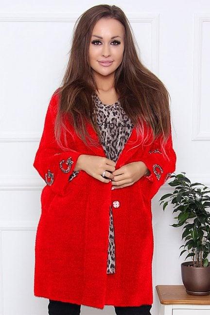 Płaszcz modny alpaka z cekinami czerwony