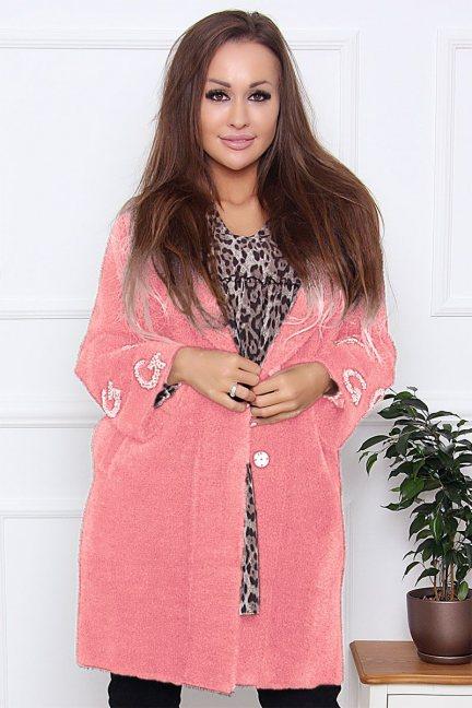 Płaszcz modny alpaka z cekinami różowy