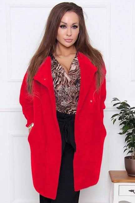 Płaszcz wiosenny alpaka zapinany czerwony