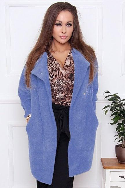 Płaszcz ciepły alpaka zapinany niebieski