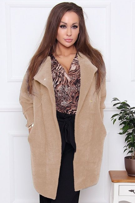 Płaszcz wiosenny alpaka zapinany camel