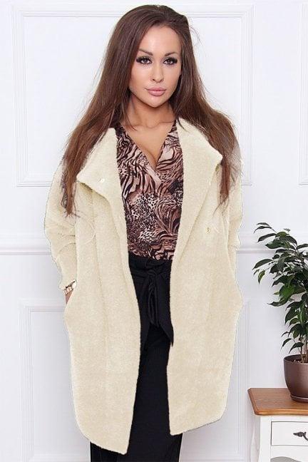 Płaszcz wiosenny alpaka zapinany ecru