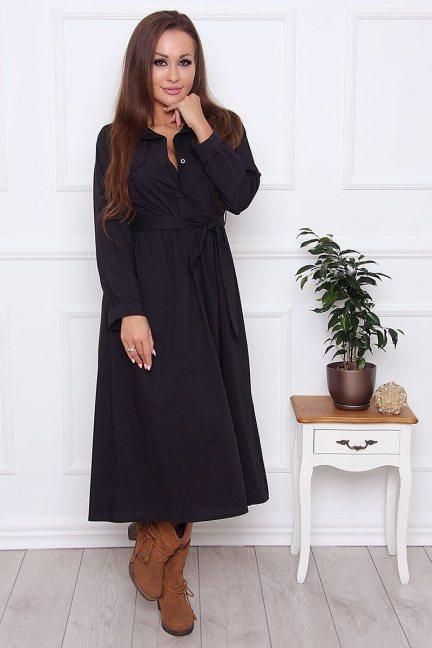 Sukienka koszulowa z guzikami czarna