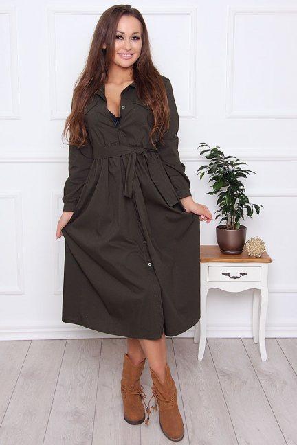 Sukienka koszulowa z guzikami khaki