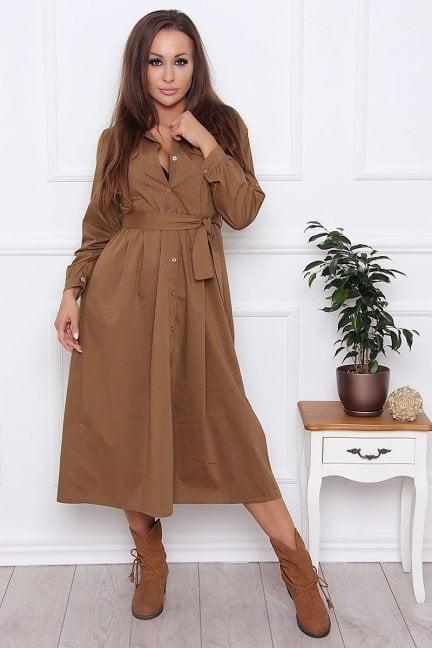 Sukienka koszulowa z guzikami camel
