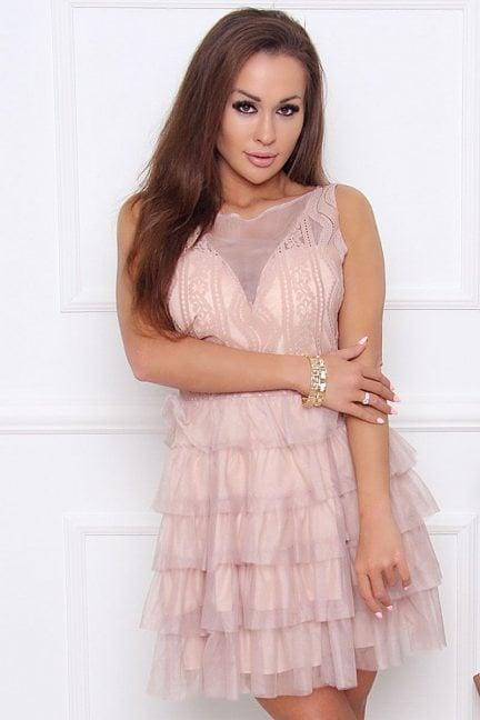 Sukienka elegancka z szyfonu beżowa